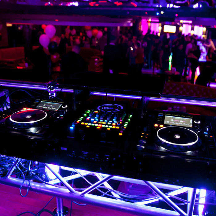 DJ Booth Neon Uplighter Setup